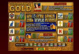Cleopatra's Gold Slot Paytable