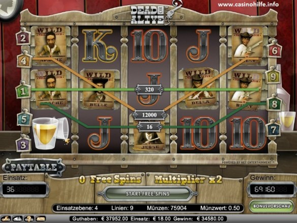 Dead or Alive Slot Wildline with Max Bet