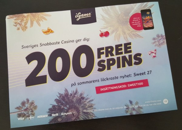 200 free spins på Sweet 27 hos iGame