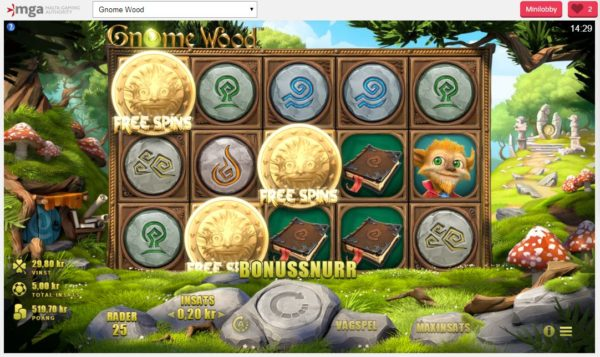 Gnnome Wood free spins läge
