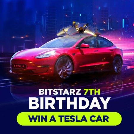 WIN A TESLA CAR – Rev up the reels in BitStarz's exclusive Tesla giveaway!