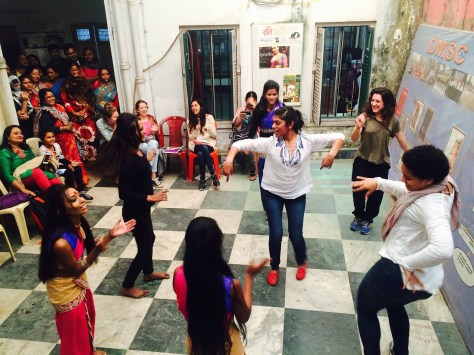 Dancing with the children of the Sonagachi sex workers after a performance (January 2016)