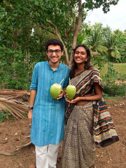Wearing a saree to a field visit.