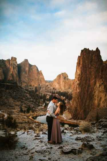 an engaged couple at smith rock, oregon