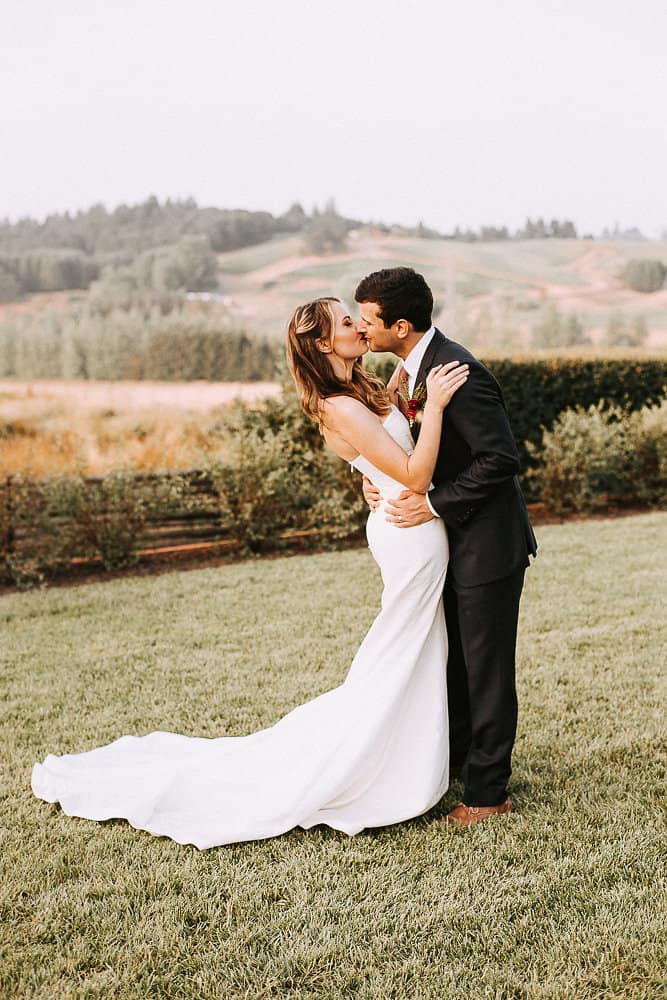 bride and groom on their wedding day at abbey road farms in oregon