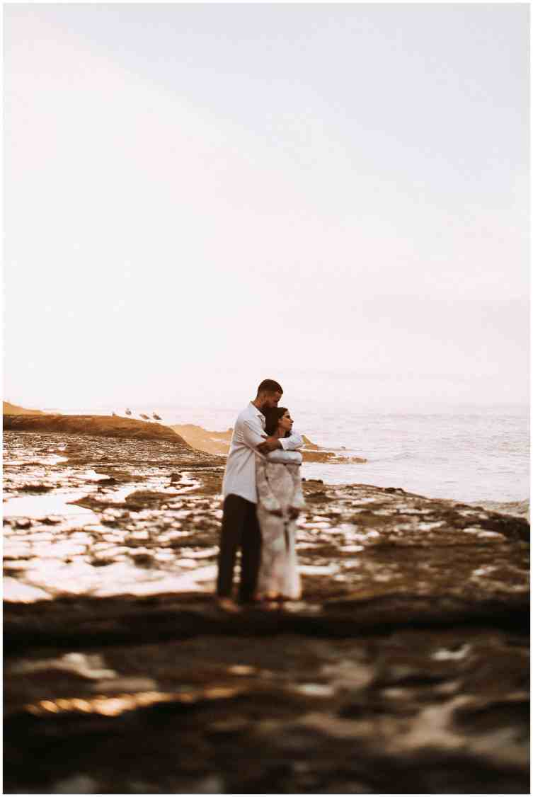 bride and groom at their oregon coast elopement