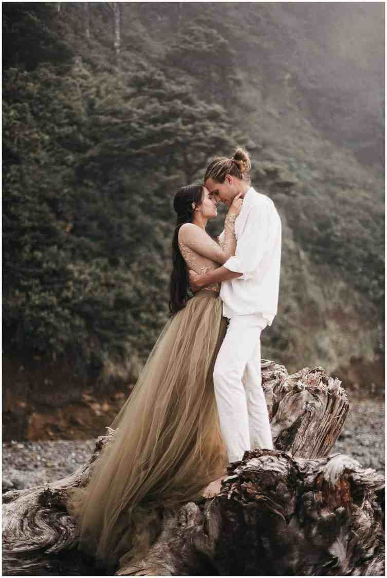 bride and groom at their oregon coast elopement at arch cape
