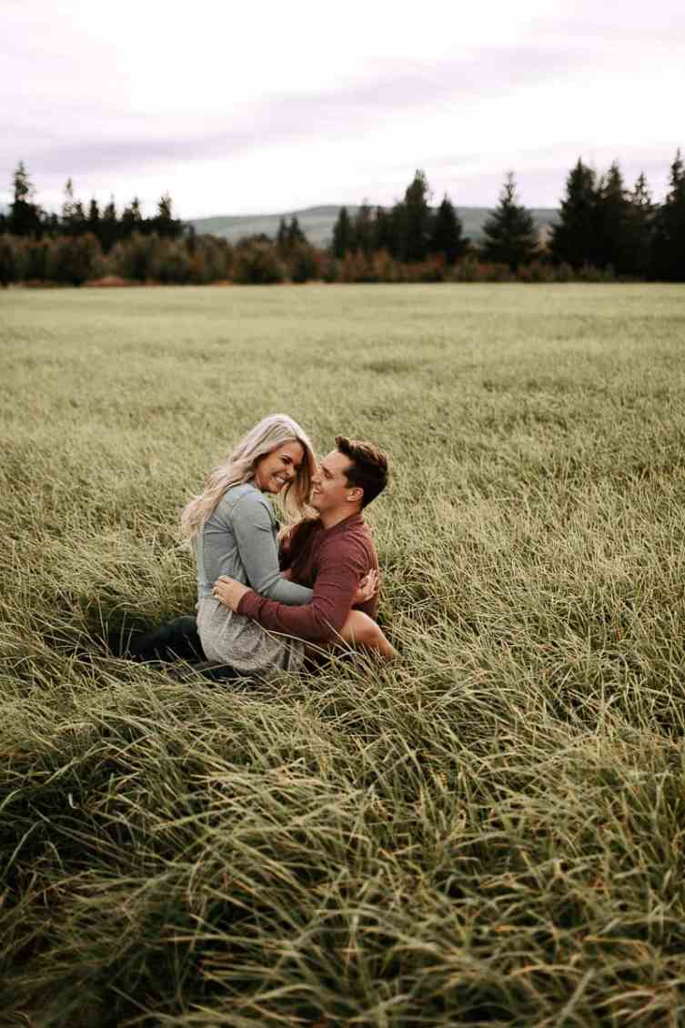 engaged couple at their mountain view elopement in hood river oregon