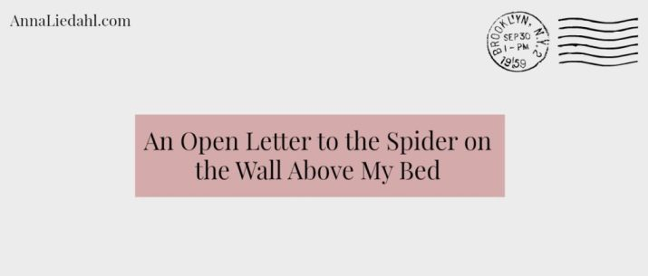 An Open Letter to the Spider on the Wall Above my Bed