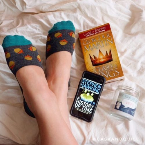 Reading. Books and candles.