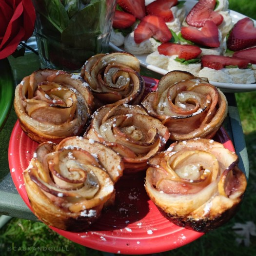 apple roses, Alice in Wonderland, Queen of Hearts tea party
