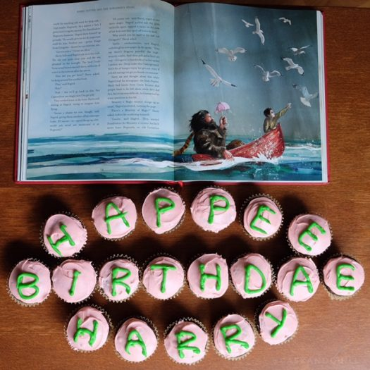 Harry Potter Cupcakes spell out Happee Birthdae Harry
