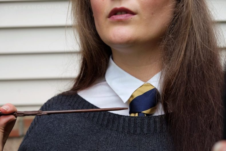 Ravenclaw tie and wand, Hogwarts uniform