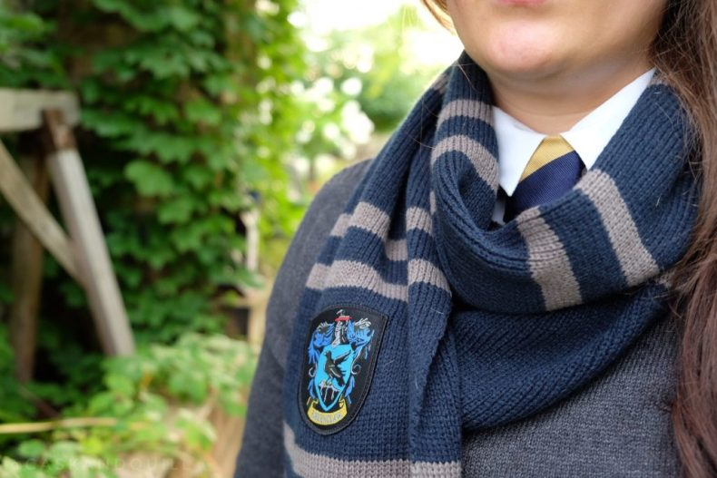 Ravenclaw Hogwarts scarf and student uniform