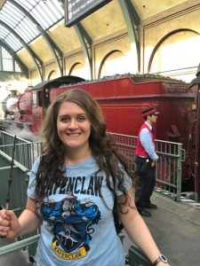 Anna at Kings Cross with the Hogwarts Express