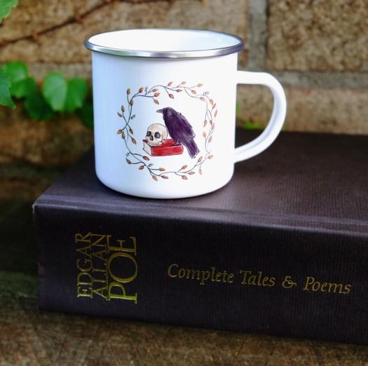 skull raven camp mug, inspired by Edgar Allan Poe