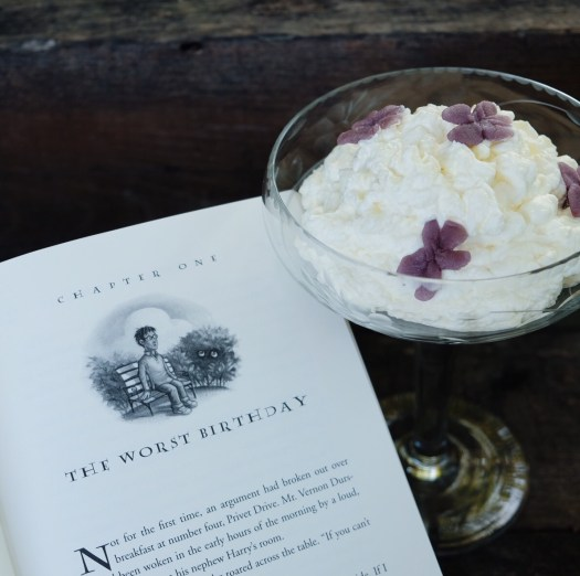 Aunt Petunia's sugared violet pudding