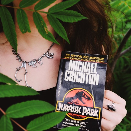 Jurassic Park book cover, trex necklace