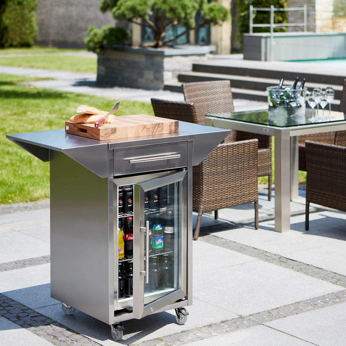 stainless steel trolley with side