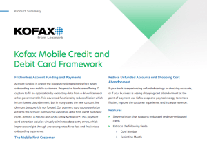 Kofax, Mobile Credit, Debit Card Framework