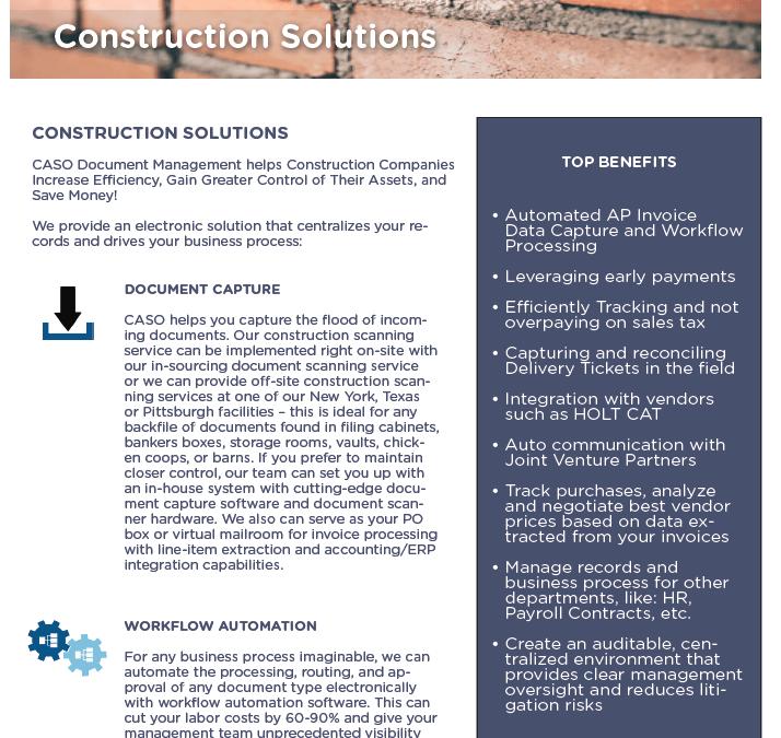 Construction Solutions Data Sheet