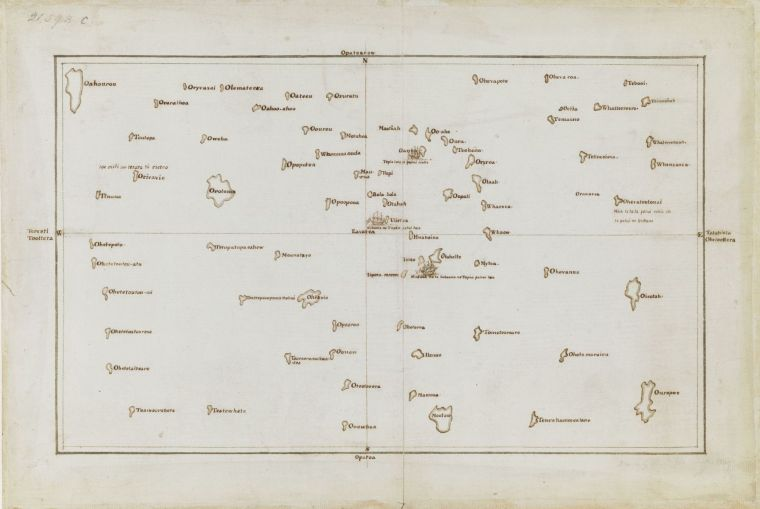 Add MS 21593 C Copy Chart of the Society Islands by Cook after Tupaia
