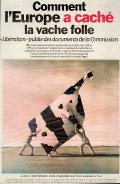 Une de Libération du 02 septembre 1996, John Kelly, Two Men Lifting à Cow, 1995