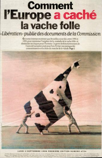 Une de Libération du 02 septembre 1996, John Kelly, Two Men Lifting à Cow, 1995