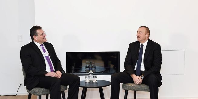 Алиев и Шефчович обсудили реализацию проекта «Южный газовый коридор»