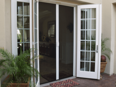 Casper Double Retractable Screen Doors Work on Out-Swing Double French Doors & Retractable Screen Doors Sacramento - Casper Disappearing ...