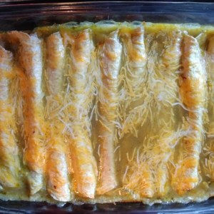 Spinach and bean enchiladas after baking