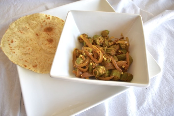 Bhindi masala (Indian curried okra) with roti