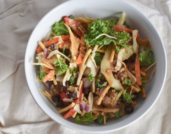 Thai Salad Bowl with Peanut Sauce and Chow Mein Noodles