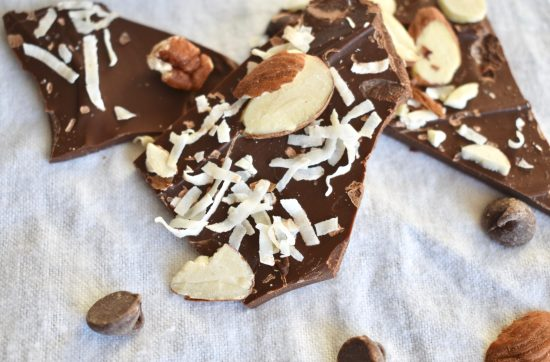 Easy 5-Minute Chocolate Bark with nuts and coconut