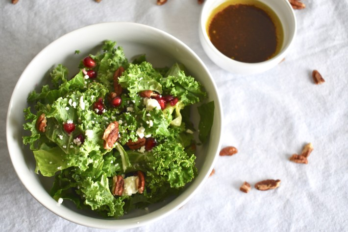 Kale Pomegranate Salad with Pecans and Feta