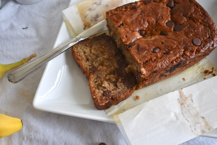 Loaf of delicious chocolate chip banana bread
