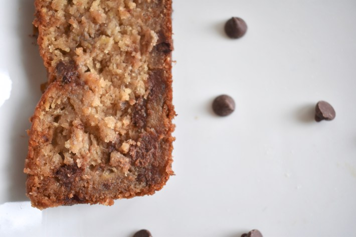 Slice of moist chocolate chip banana bread