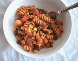 One Pot Easy Vegan Chili Mac with Salsa