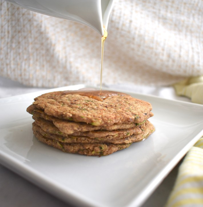 Healthy Vegan Zucchini Oatmeal Pancakes with Syrup