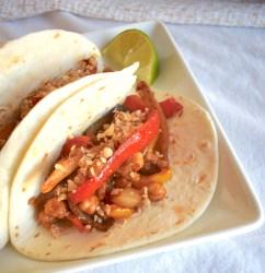 sheet pan fajita street tacos with lime