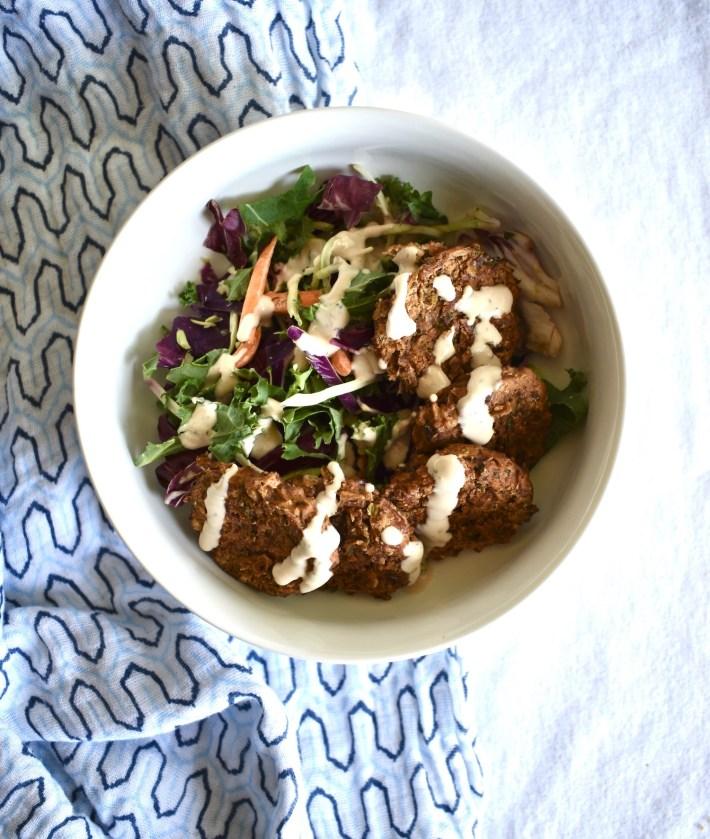 tahini falafel salad with pinto bean falafel