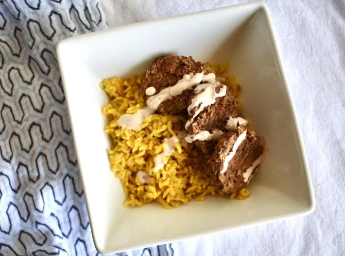 turmeric rice falafel bowl