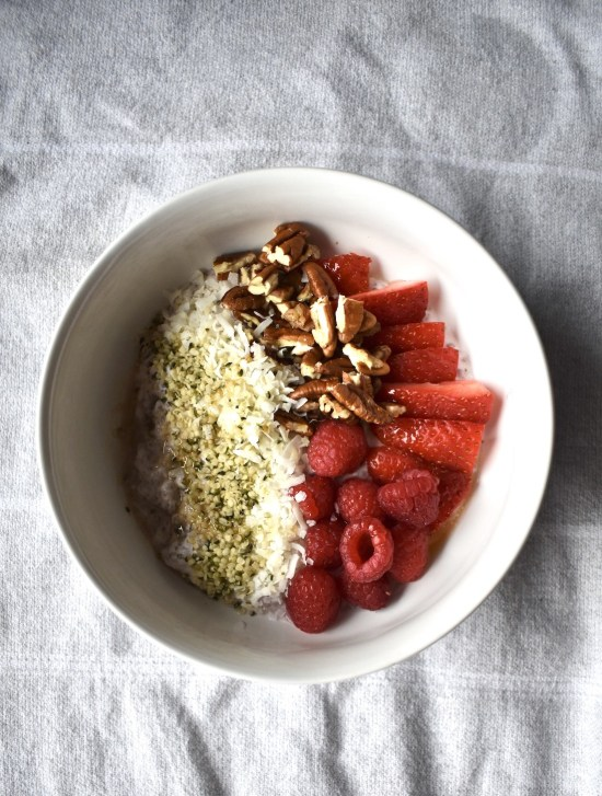 plant based strawberry coconut chia pudding