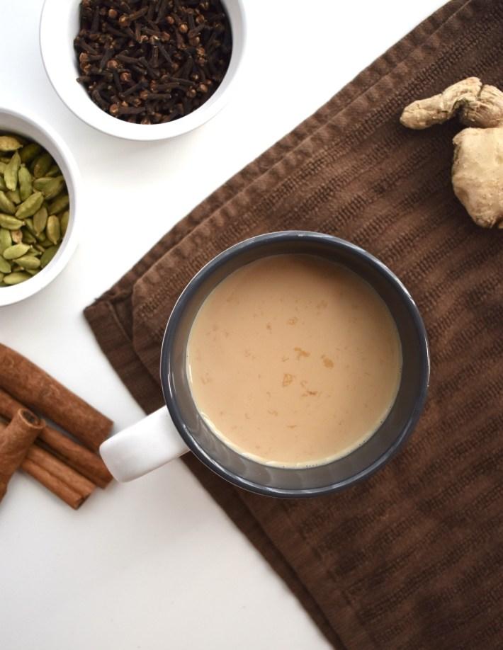 authentic masala chai spiced tea with cardamom, cloves, cinnamon, and ginger