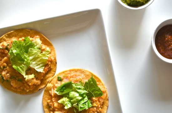 chickpea tostadas with toppings