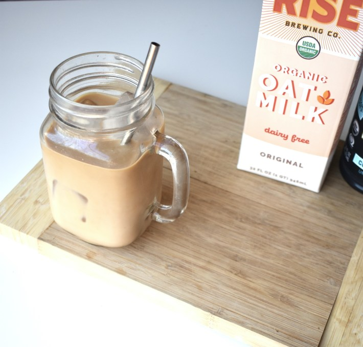 iced oatmilk latte with honey and black tea