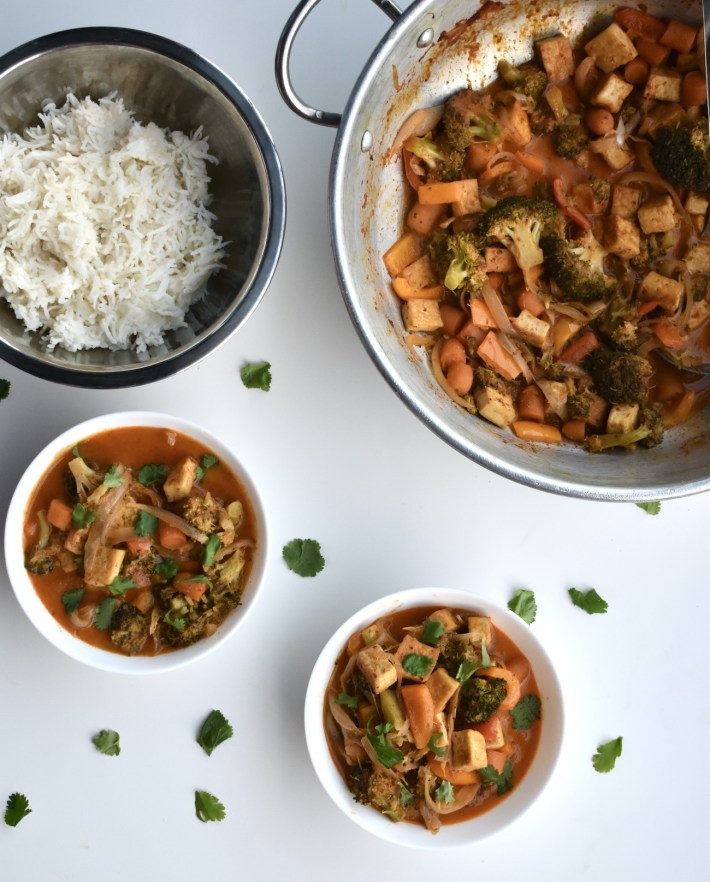 vegan masaman curry with mixed vegetables and tofu