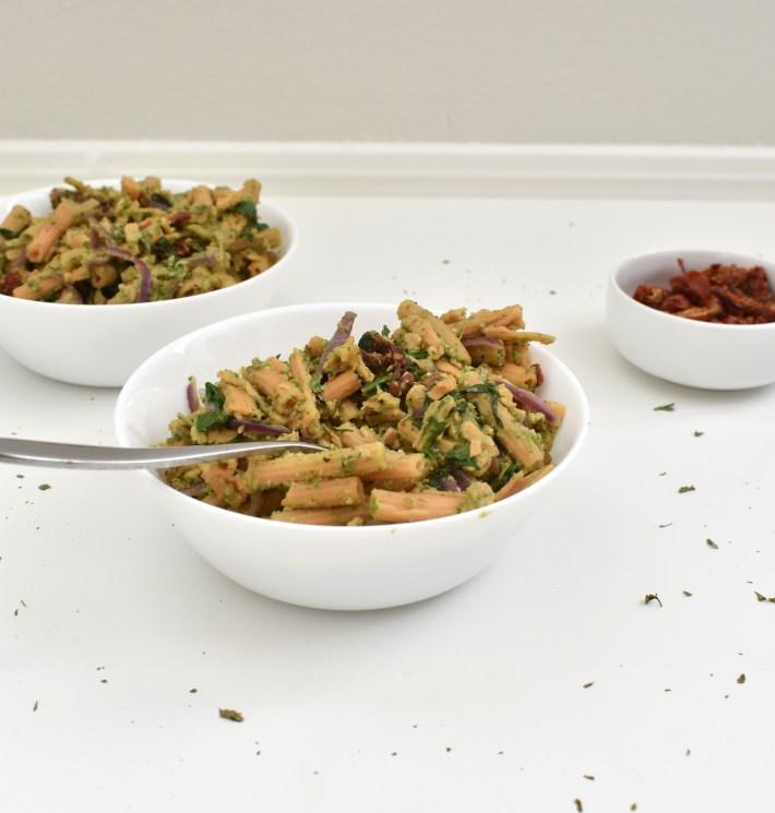 Pesto Pasta with Veggies and Lentil Noodles, Gluten-Free, Vegan, High-Protein
