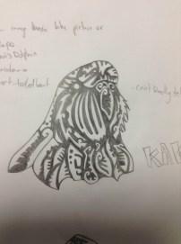 Initial sketch of Kakapo Head