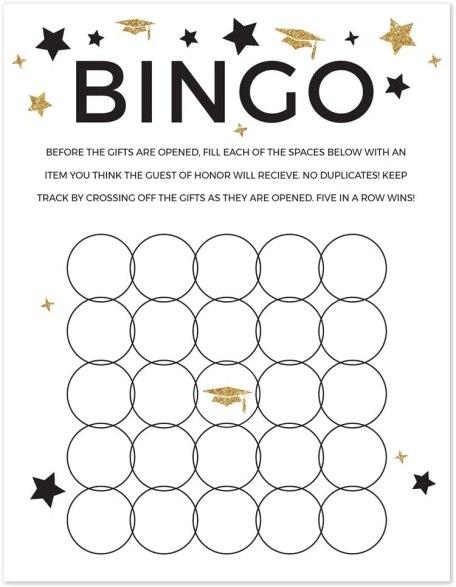 diy bingo activities for graduation party